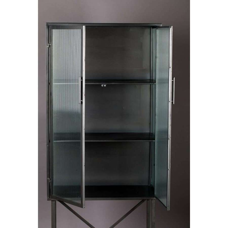 Dutchbone Boli Iron & Ribbed Glass Cabinet | Accessories ...