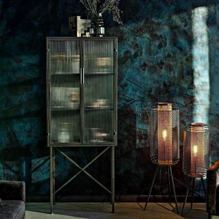 Dutchbone Boli Iron and Ribbed Glass Cabinet from Accessories for the Home