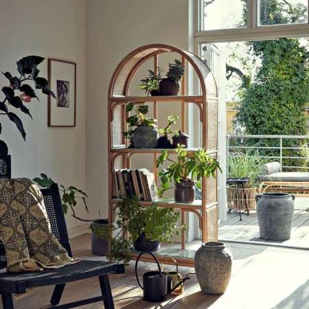 Nordal Bali Rattan and Glass Bookshelf