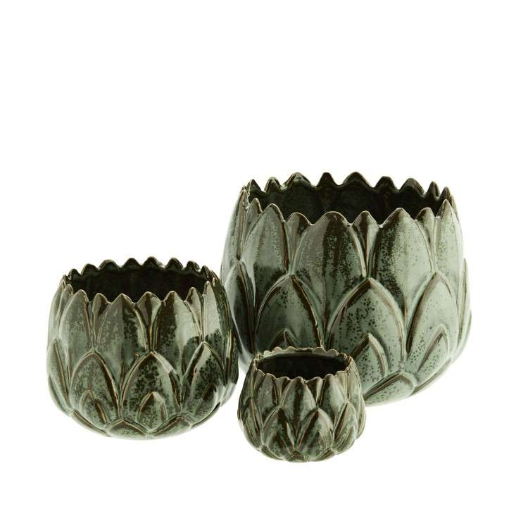 Madam Stoltz Set of 3 Green Leaf Flower Pots from Accessories for the Home