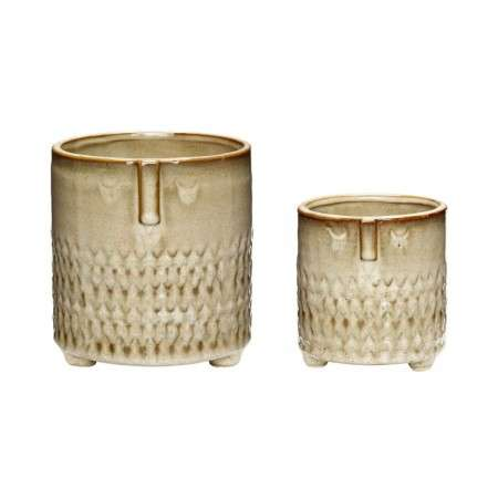 Hubsch Ceramic Face Pots Set of 2