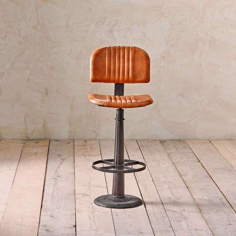 Tan Ribbed Leather and Iron Bar Chair