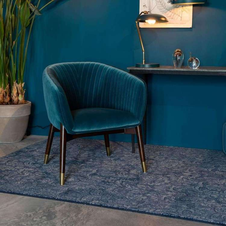 Dutchbone Dolly Velvet Armchair Blue from Accessories for the Home