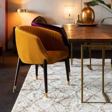 Dutchbone Dolly Velvet Armchair Ochre