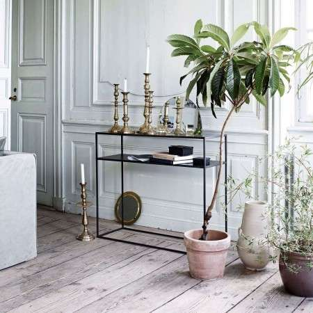 Tinekhome Metal Console Table in Black or Gold