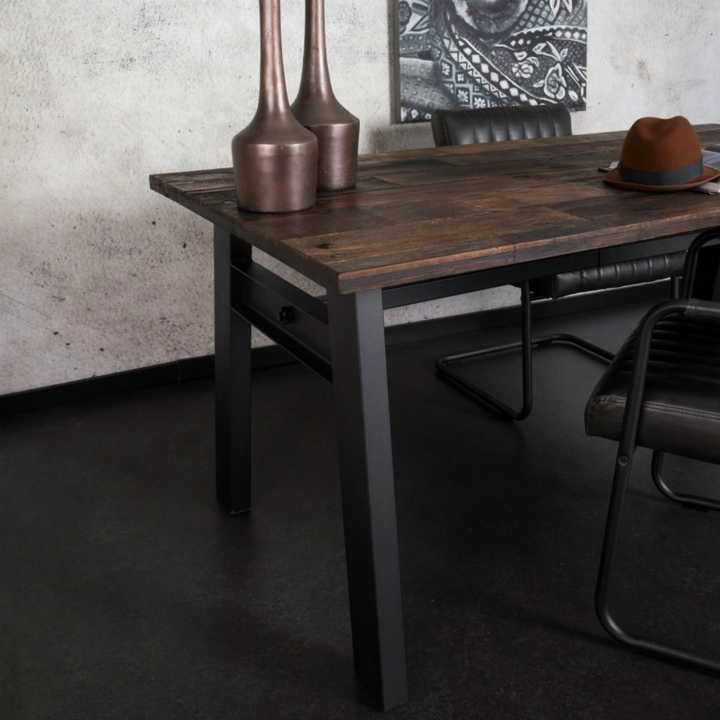 Industrial Style Furniture Raw Wood & Metal Dining Chair