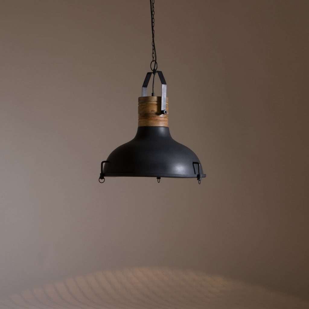 Industrial Style Furniture Wood & Metal Pendant Light