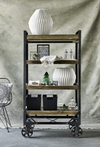 Industrial Style Furniture Raw Wood & Metal Trolley Bookcase