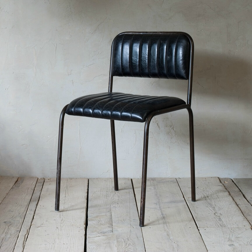 Leather Ribbed Dining Chair