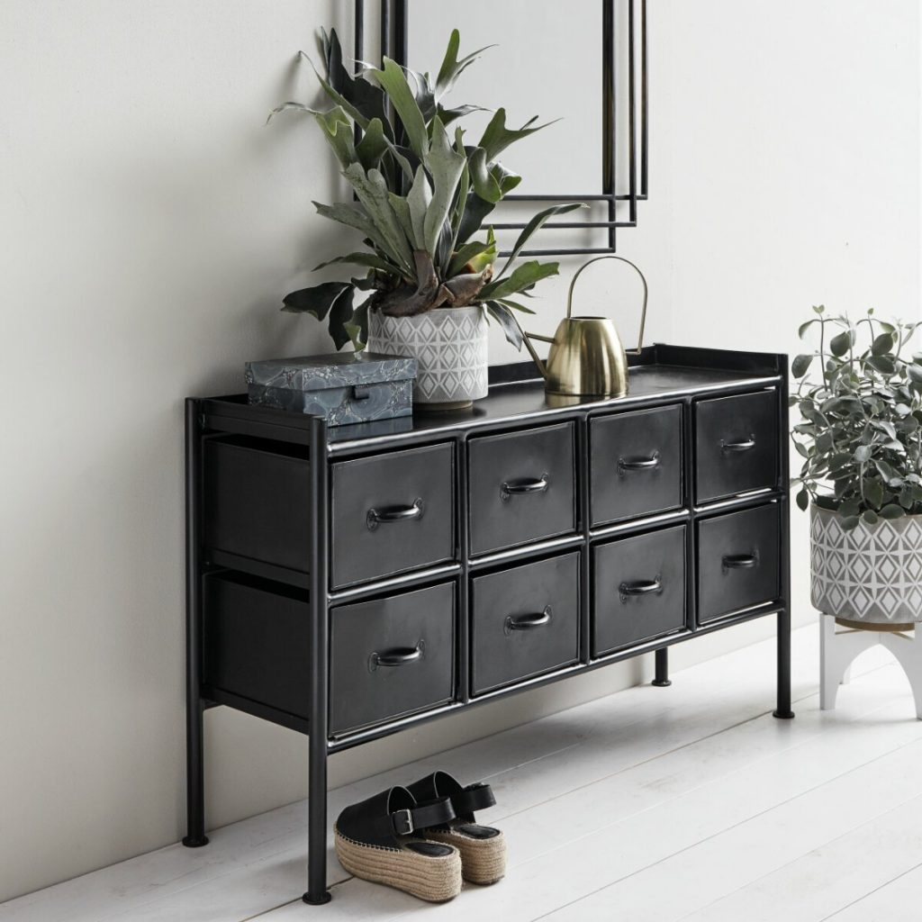 Nordal Bertie 8-Drawer Black Iron Console from Accessories for the Home