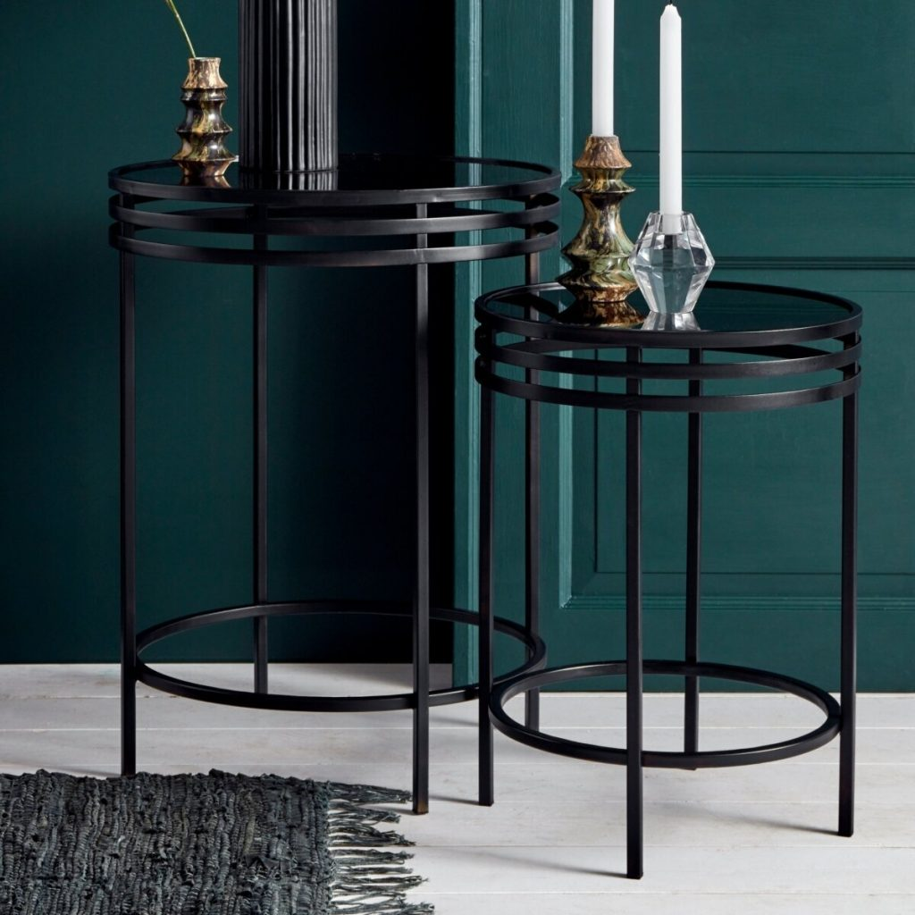 Nordal Black Iron and Glass set of 2 Side Tables from Accessories for the Home